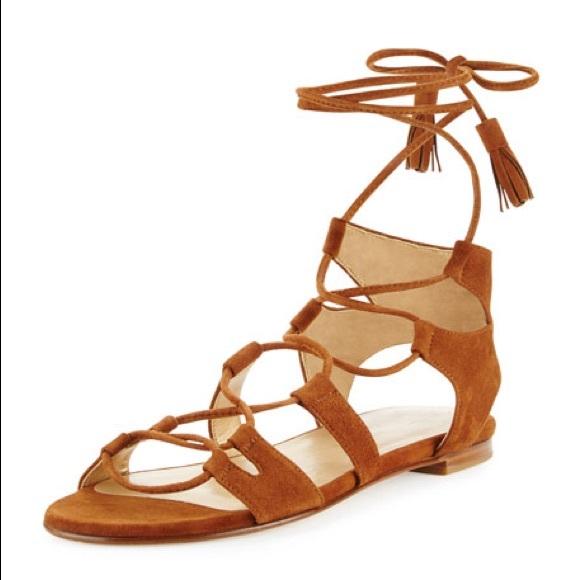 a0502bfad452 Stuart Weitzman Suede Roman Flat Sandals
